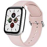 Senka Silicona Correa Compatible con Apple Watch 38mm 42mm 40mm 44mm, Pulseras de Repuesto Silicona Suave Deportiva para iWatch Series 6 5 4 3 2 1,Hombre y Mujer(Rosa Sand,42mm/44mm S/M)