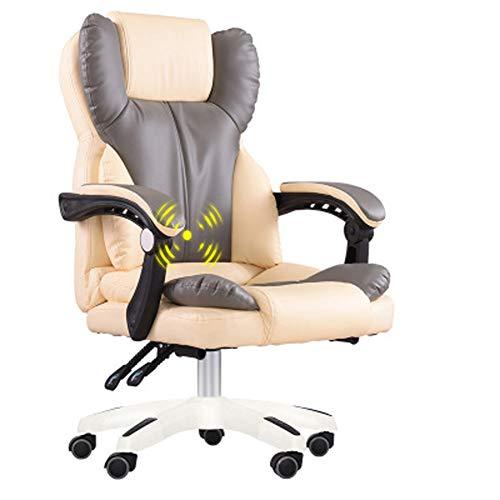 Silla de ordenador, silla de oficina en casa, silla de jefe, diseño ergonómico ajustable en altura, mecanismo de inclinación sincrónica, rotación de 360 grados moderno Large gris