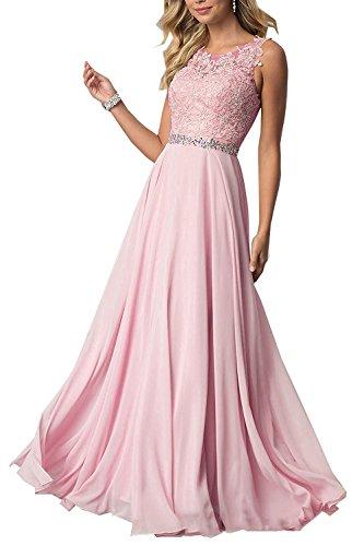 CLLA dress Damen Chiffon Spitze Abendkleider Elegant Brautkleid Lang Festkleid Ballkleider(Rosa,38)