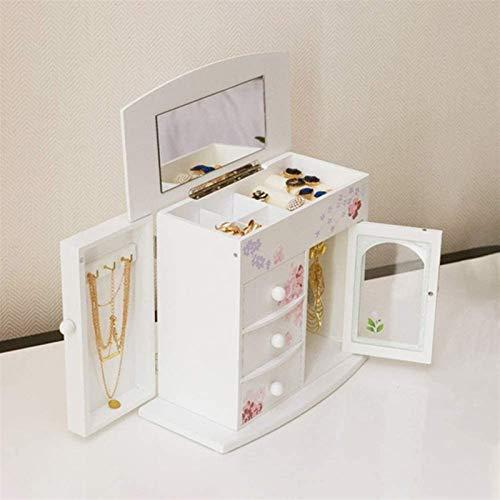 Multifunctional Caja de almacenamiento de joyas Caja de joyería de madera creativa, caja de joyería Organizador, Joyería Joyería Joyería Armario Collar Anillo Pulsera Joyas (Color: Blanco, Tamaño: Un