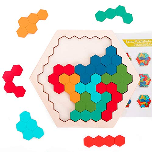 Ranslen Wooden Hexagon Puzzles Gifts for Kids ChildHexagon Shape Block Jigzaw Tangram Kids Puzzles Logic IQ Game STEM Puzzles for Kids Ages 3 and UpEducational Puzzle Gift for All Ages Challenge