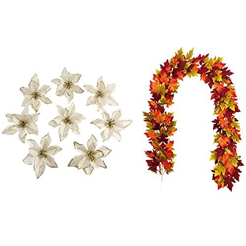 Cobeky Otoño Otoño Otoño Hojas de Arce con 20 Adornos de Árbol de Navidad Artificiales Bodas Flores de Navidad