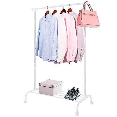 SPRINGOS Kleiderständer, Rollgarderobe, Teleskop-Wäscheständer mit 1 Kleiderstange, Metall, Weiß, Kleiderständer auf Rollen, Ankleideraum, Flur, Eingangsbereich, Garderobe, Schlafzimmer