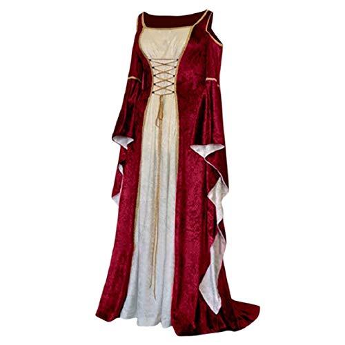Bluelucon dames trompetmouwen middeleeuwse party kostuum maxi-jurk middeleeuwse jurk lange mouwen koude schouder lange mouwen jurk vintage cocktailjurk avondjurken petticoat