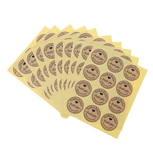 Y-QUARTER Handmade Sticker DIY Gift Packaging,120xHeart Thank You Adhesive Kraft Label Seal Gift Sticker Bag Decor Cake Candyfor Halloween Christmas Wedding Decor