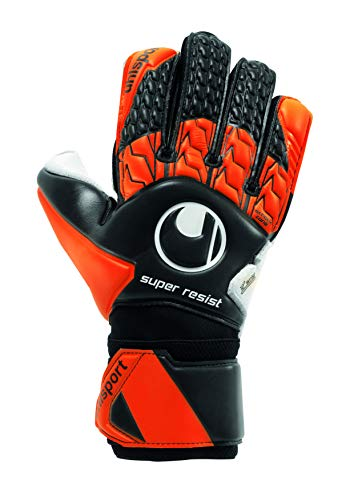 UHLSPORT - UHLSPORT SUPER RESIST - Gant gardien football - Paume Latex SuperResist - Coupe classique - noir/fluo orange/blanc Taille 9.5
