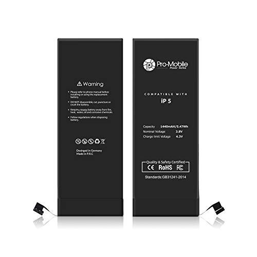Pro-Mobile Ersatz Akku für Original Apple iPhone 5/5G 1440 mAh inkl.Klebestreifen und Reperaturwerkzeugset Batterie Battery Handy Accu iPhone 5 / 5G