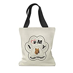 Custom Canvas Tote Shopping Bag I Paw My Alano Espanol Dog Reusable Beach Bags for Women 45
