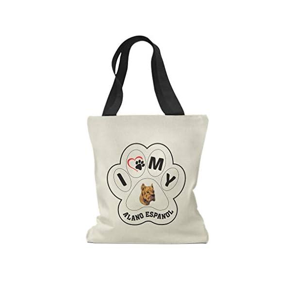 Custom Canvas Tote Shopping Bag I Paw My Alano Espanol Dog Reusable Beach Bags for Women 1