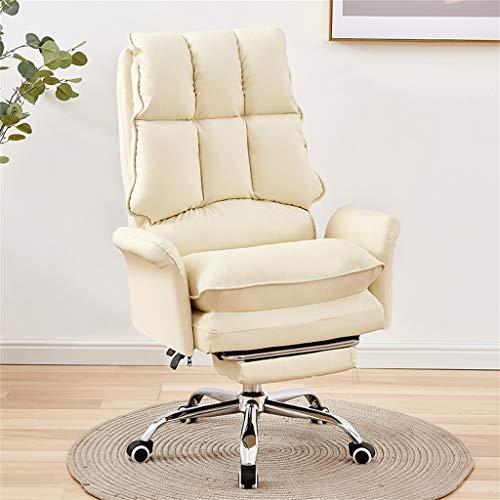 W-xiao stool Silla giratoria de oficina de piel reclinable con reposacabezas y reposapiés retráctil, para salón y dormitorio de la familia