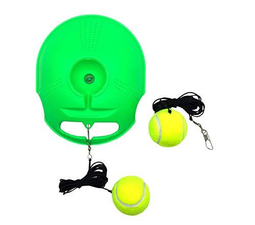 TaktZeit Tennis Trainer Rebound Baseboard Self Tennis Training Tool Ball Back Training Gear with 2 String Balls (Flash Green-1.0)