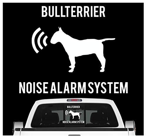 Siviwonder Bullterrier Noise Alarmsystem Auto Aufkleber Hund Folie Bully Bull Terrier Farbe Weiß, Größe 10cm