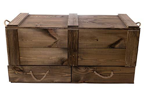 Moooble 1x Holztruhe mit Deckel + 2 Schubladen | 85 x 39 x 40 cm | stabile Spielzeugtruhe Holz als 'Schatzkiste' mit viel Platz | zum sitzen