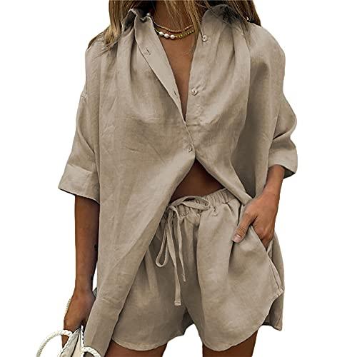 Pabuyafa Conjunto de 2 piezas de ropa casual de verano para mujer, de algodón de lino y manga corta, blusas de cuello en V con puños Y2K Streetwear, caqui, L