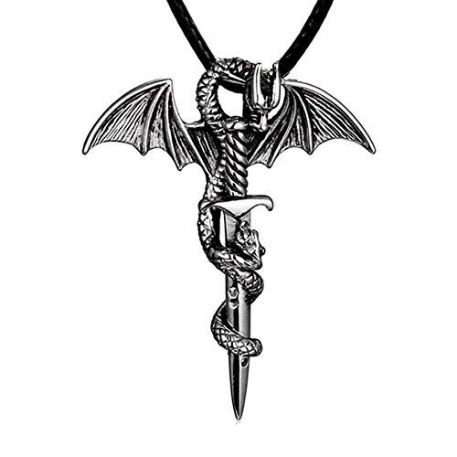 YUANYUAN520 Los Hombres De Metal Colgante, Collar De La Vendimia del Dragón Cruz De ala Espada del Punk Rock Gótico Collares Diseño Único Joyería