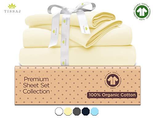 500-Thread-Count Organic Cotton Bed Sheets-Set - 500TC California King Size Natural - 4 Piece Bedding - 100% GOTS Certified Extra Long Staple, Soft Sateen Bedsheets - Fits 15' Deep Pocket Mattress