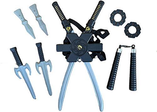 Rubber Johnnies Mochila de espada ninja, 2 espadas, juego de 10 piezas, juguete para niños, plástico, Street Fighter , Turtle Hero