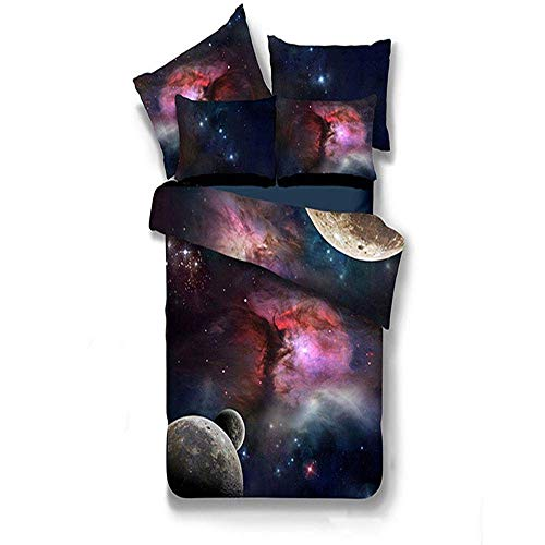 Duvet Cover Sets 3D Nebula Starry Sky Printing 3 Piece Set Bedding 100% Microfiber For Gifts (1 Duvet Cover + 2 Pillowcases) E-King(259x229cm)