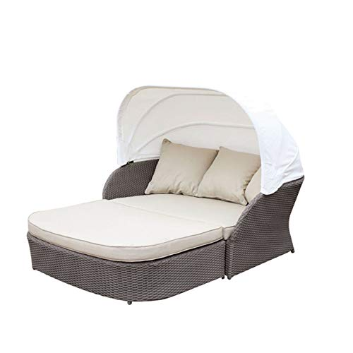 Outdoor Patio Round Daybed Furniture with Retractable Canopy,Sun Shade Leisure Sofa,Wicker Rattan Sofa Set Waterproof Cushions Backyard Lawn Garden Pool Porch