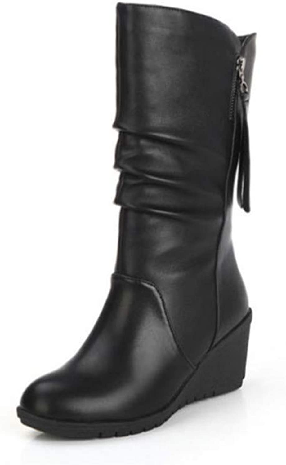 F1rst Rate Women's Mid Calf Boots - Trendy Platform Round Toe Pull On Platform Snow Boot