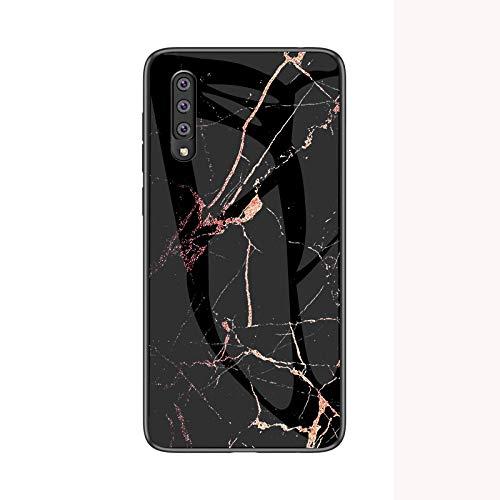 COVO® Hülle für Samsung Galaxy A50 Hülle Marmor Gehärtetem Glas & Silikon Rand Hybrid Hardcase Stoßfest Kratzfest Handyhülle Dünn Case Handyhülle für Samsung Galaxy A50 (Schwarzes Gold)