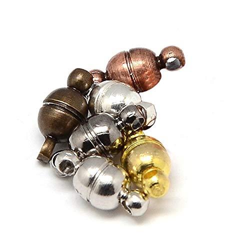 Lot de 10 fermoirs aimantés pour chaîne 11 x 5 mm ronds - 5 couleurs - Fermeture magnétique - Fermeture magnétique - M402 x 2