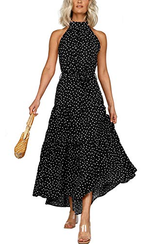 Zilcremo Damen Sommerkleider Böhmisch Kleid Halfter Ärmellos Blumenkleid Strandkleid Lang Kleider MaxiKleid Cocktailkleid r Schwarz S