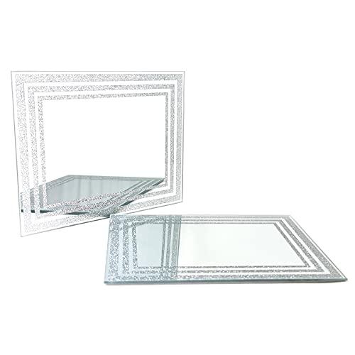 The Leonardo Collection 2er-Set Platzsets aus Glas, modern, silberner Glitzer, quadratischer Esstisch, Platzdeckchen