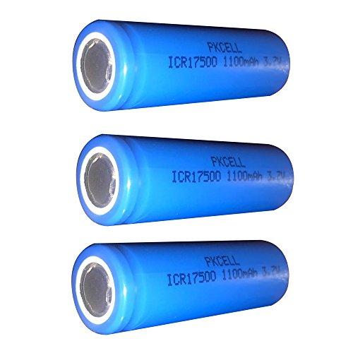 17500 3,7 V 1100 mAh icr17500 Li-Ion wiederaufladbare Akku Flat Top 3 Stück