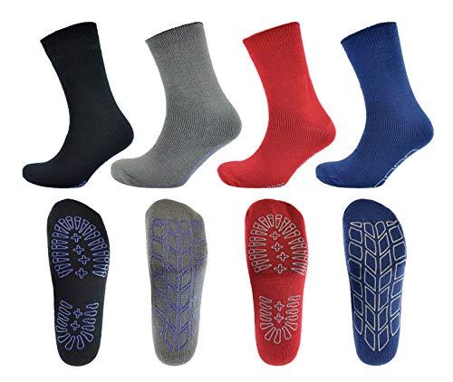 4 Pairs Ladies or Mens Thermal Non Slip Grip Slipper Lounge Socks - Mixed...