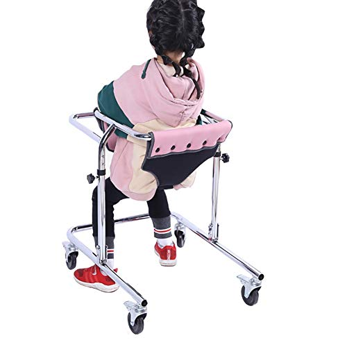Upright Walker for Kids Cerebral Palsy Disability Rehabilitation Training, Foldable Toddlers Walker with Wheels and Seat (Color : Pink, Size : Medium)