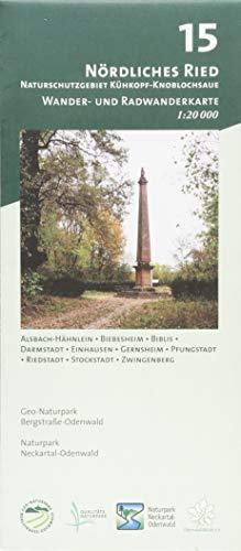 Blatt 15, Nördliches Ried - Naturschutzgebiet Kühkopf-Knoblochsaue: Wander- und Radwanderkarte 1:20.000. Mit Alsbach-Hähnlein, Biebesheim, Biblis, ... und Naturpark Neckartal-Odenwald)