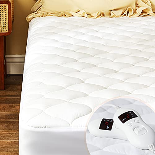 Heated Mattress Pad Queen Size Electric Mattress Topper Water-Resistant Bed Cover Stretches up 8'-21' Deep Pocket, White