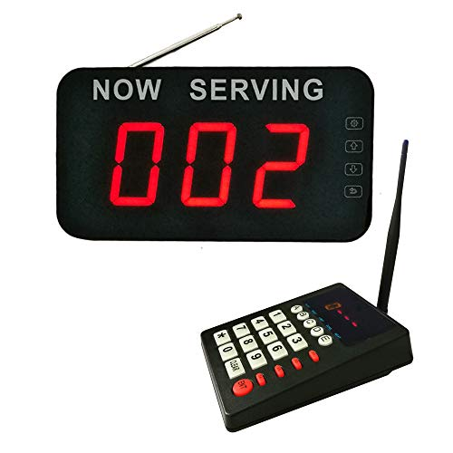 Take A Number System Waiting Number System Wireless Queue Calling System Queue Management System for Medical Clinic Restaurant Hospital Bank Waitting (1 keypad 1 Display)