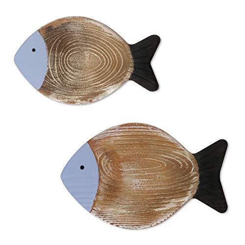 2 Pezzi Decorazione di pesce in legno Appeso Decorazione di pesce in legno Intagliato a mano Pesce in legno Wall Art per la casa Indoor Outdoor Office Decorazione a tema da parete nautica (Blu)