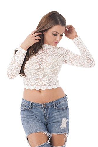 Hollywood Star Fashion Women's Long Sleeve Lace Mock Neck Crop Top (Small,...