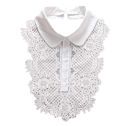 Xuebai Bordado Floral Encaje Jabot Cuello Falso Camisa Vintage Collar de Corbata Delantera Cuello Falso Blanco
