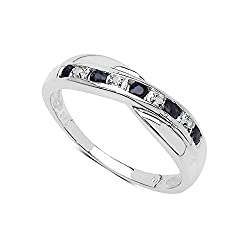 The Main Images are Greatly Enlarged by Amazon to show Fine Detail. Best Selling Channel Set Crossover Design a Beautiful Eternity Ring with Brand New in Quality Ring Case Genuine Sapphire & Diamond the Ring is 5mm Wide at the Centre. Full UK Assay O...