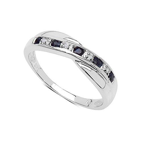 De Diamond Ring-Collectie : 9Ct Witgoud met Echte Saffier en Diamanten, Cross Set-Kanaal, Eeuwigheidsring, Moederdag, Jubileum, Cadeau, Ringgrootte