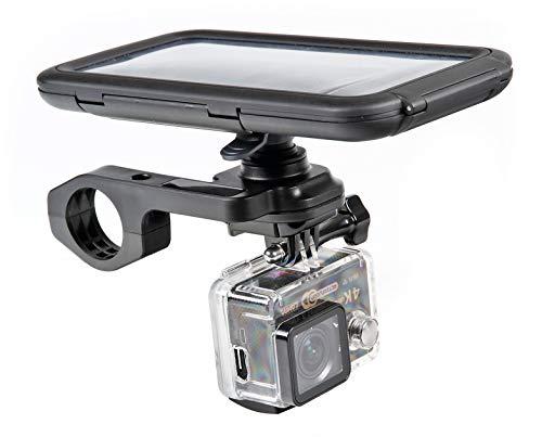 LAMPA 90551 Opti Combo, Attacco Fisso per Manubrio con Supporto per Action Cam Compatibile con custodie Opti Line