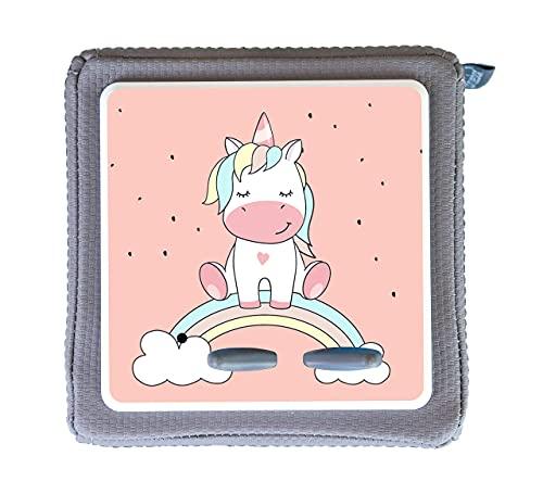 MeinBaby123 Schutzfolie für Toniebox   Schutzcover selbstklebend   Aufkleber passgenau   Folie Sticker   Toniebox Zubehör   Niedliches Einhorn Regenbogen