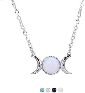 Triple Goddess Moon Symbol Pendant Necklace Opal Healing Crystal Natural Stone Sailor Moon Pendant for Women