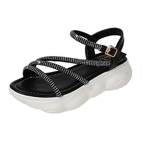 Sandalias de Mujer de Color sólido con Diamantes de imitación, Correa de Tobillo Ajustable con Hebilla, Plataforma Antideslizante con Punta Abierta, Zapatos de cuña Elegantes