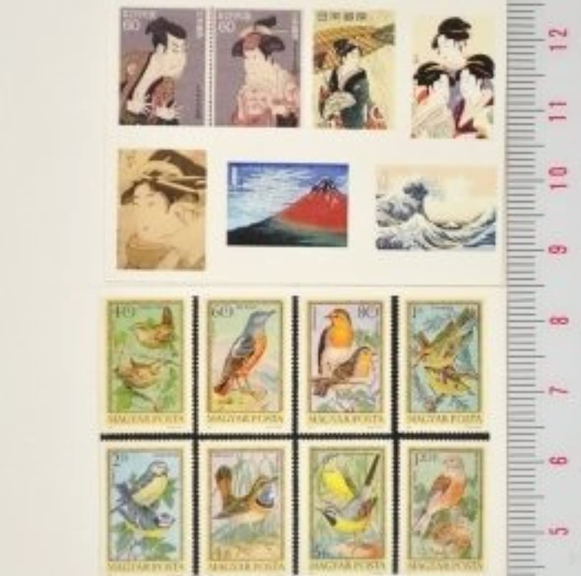 誰が血統抽象【スクラップ ネイルシール】世界切手《浮世絵&鳥》1枚組