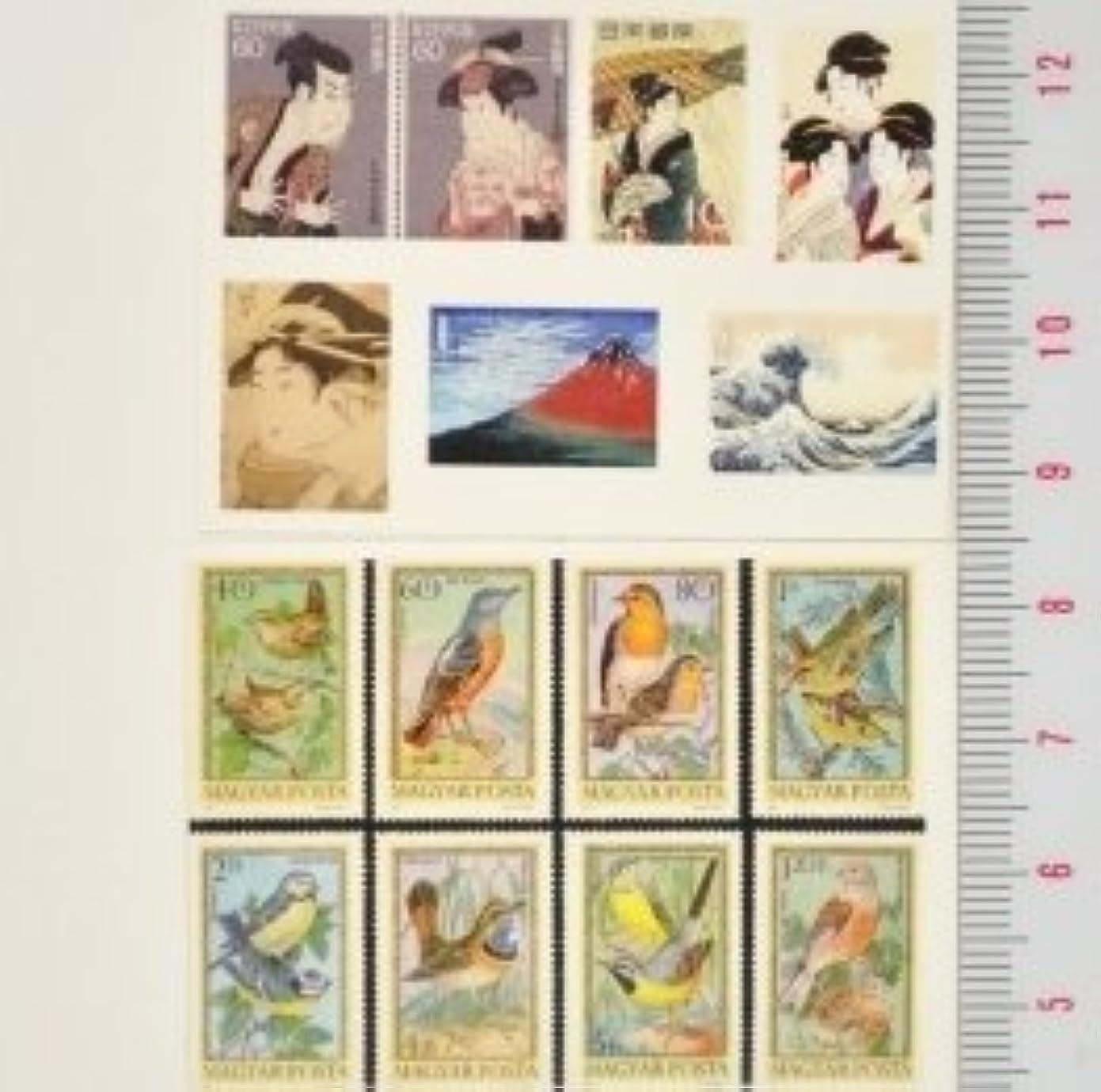 明らかにモバイル大破【スクラップ ネイルシール】世界切手《浮世絵&鳥》1枚組