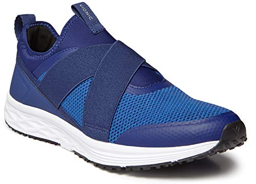 Vionic Men's Fulton Jasper Casual Walking Shoes - Slip-On Sneakers with Concealed Orthotic Arch Support Blue 9.5 D US