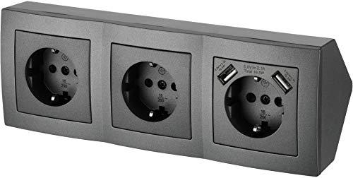 Regleta de 3 enchufes para esquina, con 2 puertos USB de carga – 230 V 16 A 3600 W – T1 antracita