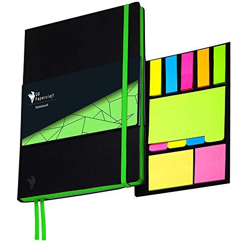 Design Notizbuch QD Papercraft inklusive Haftnotizen, Innentasche und Lesezeichen | Kunstleder Softcover | grün kariert