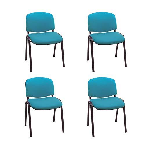 Centrosilla Silla confidente ISO apilables con Acolchado Especial Ideal para Salas reuniones, conferencias tapizadas (Pack 4 Unidades) (Agua Marina)