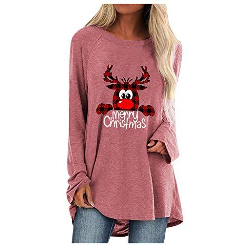 T-Shirt Warm Damen Pullover Printed Weihnachten Stilvoll Tops(Rosa,2XL)